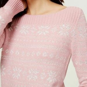 🌻5/$25🌻 Loft Pink Snowflake Sweater